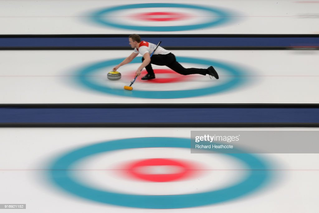 Magnus Nedregotten and Kristin Skaslien (out of frame) of Norway in action against Dexin Ba and Rui Wang of China during the Curling Mixed Doubles Tie-breaker on day two of the PyeongChang 2018 Winter Olympic Games at Gangneung Curling Centre on February 11, 2018 in Gangneung, South Korea. during the Curling **** on day two of the PyeongChang 2018 Winter Olympic Games at Gangneung Curling Centre on February 11, 2018 in Gangneung, South Korea.