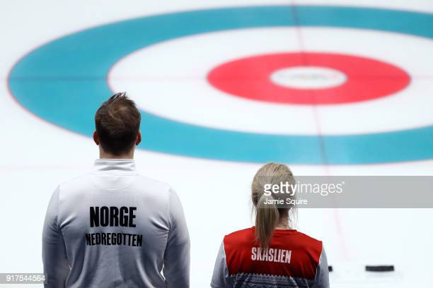 Magnus Nedregotten and Kristin Skaslien of Norway look on against Olympic Athletes from Russia during the Curling Mixed Doubles Bronze Medal Game on...