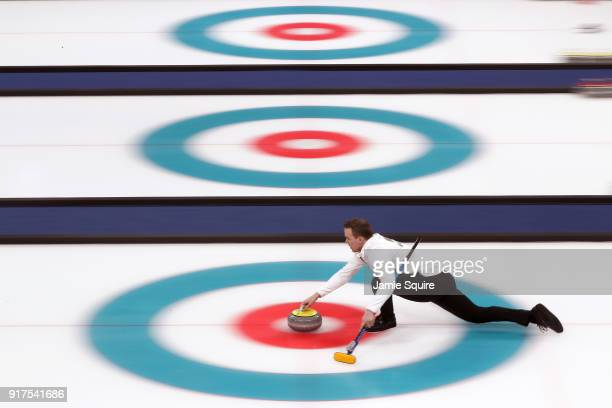 Magnus Nedregotten of Norway competes during the Curling Mixed Doubles Bronze Medal Game on day four of the PyeongChang 2018 Winter Olympic Games at...