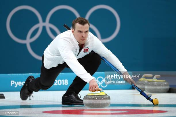 Magnus Nedregotten of Norway delivers a stone against Olympic Athletes from Russia during the Curling Mixed Doubles Bronze Medal Game on day four of...