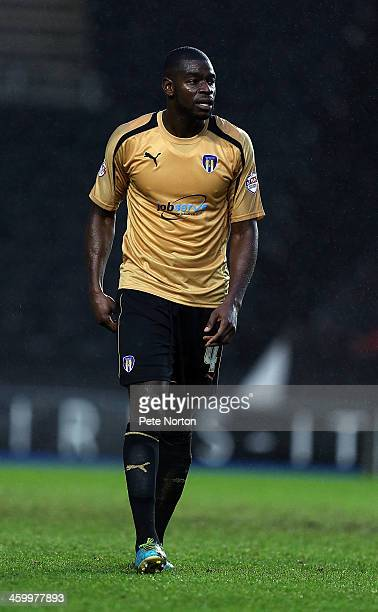 Magnus Okuonghae of Colchester United in action during the Sky Bet League One match between Milton Keynes Dons and Colchester United at Stadium MK on...