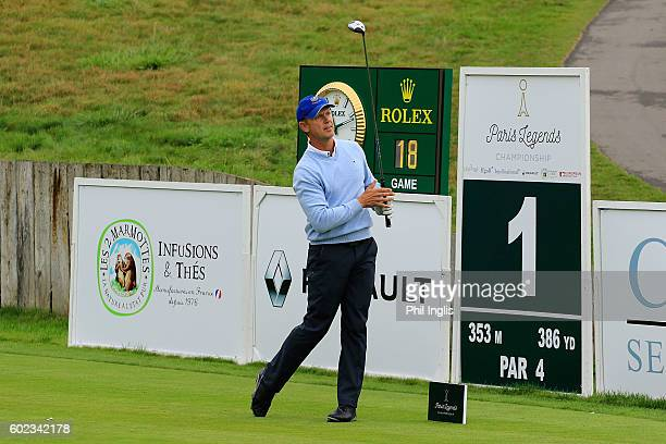 Magnus P Atlevi of Sweden in action during the final round of the Paris Legends Championship played on L'Albatros Course at Le Golf National on...
