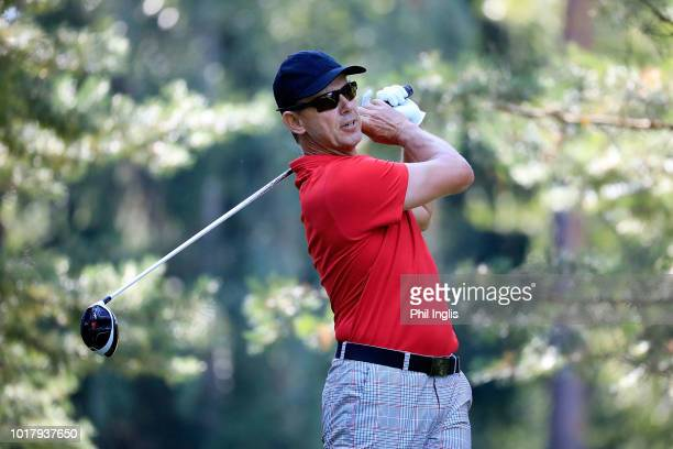 Peter Wilson of England in action during the first round of the VTB Russian Open Golf Championship played at Moscow Country Club on August 17 2018 in...