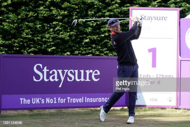Magnus P Atlevi of Sweden in action during the ProAm ahead of the Staysure PGA Seniors Championship at Formby Golf Club on July 28, 2021 in Formby,...