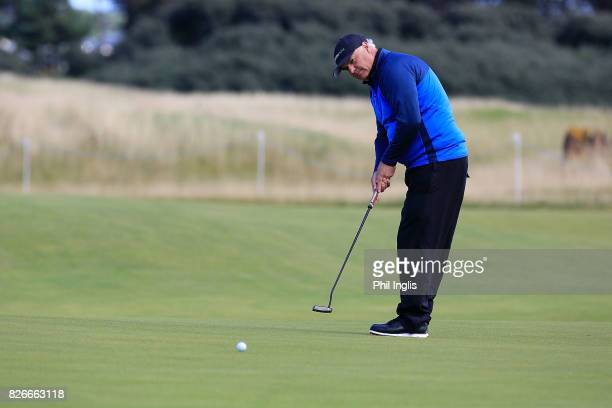 Magnus P Atlevi of Sweden in action during the second round of the Scottish Senior Open at The Renaissance Club on August 5 2017 in North Berwick...