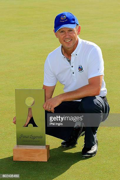 Magnus P Atlevi of Sweden poses with the trophy after the final round of the Paris Legends Championship played on L'Albatros Course at Le Golf...