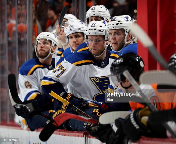 Magnus Paajarvi ans Vladimir Sobotka of the St Louis Blues look on from the bench in the third period against the Philadelphia Flyers on January 6...