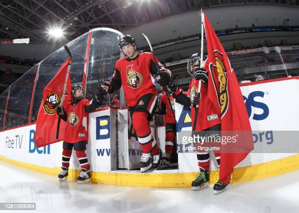 Magnus Paajarvi of the Ottawa Senators steps onto the ice during player introductions prior to a game against the Boston Bruins at Canadian Tire...
