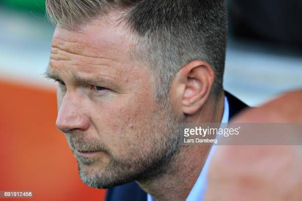 Magnus Pehrsson head coach during the Allsvenskan match between Jonkopings Sodra IF and Malmo FF at Stadsparksvallen on June 3 2017 in Jonkoping...