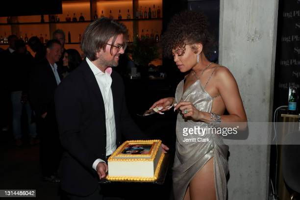 Magnus Resch and Andra Day attend Spring Place's Oscars party honoring Andra Day and the cast of The United States vs. Billie Holiday on April 26,...