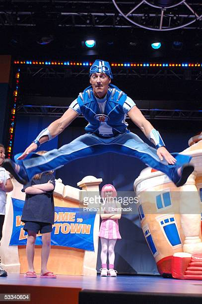 Magnus Scheving above and Julianna Rose Mauriello from the Nick Jr series LazyTown celebrate the kickoff of the LazyTown Live Tour at the Nickelodeon...