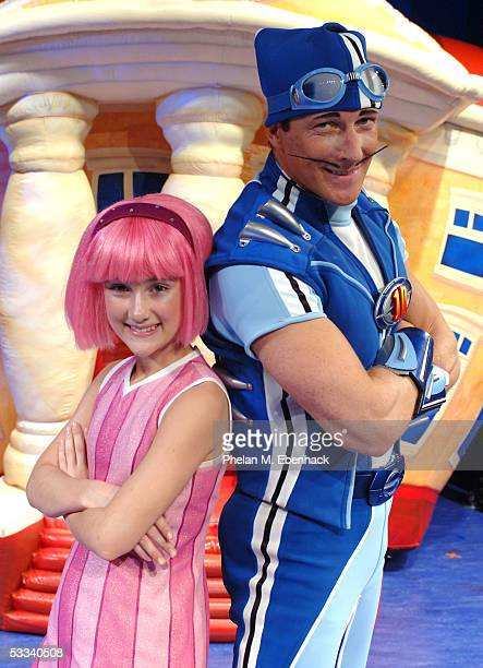 Magnus Scheving and Julianna Rose Mauriello from the Nick Jr series LazyTown celebrate the kickoff of the LazyTown Live Tour at the Nickelodeon...