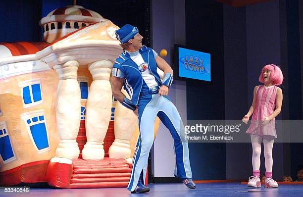 Magnus Scheving left and Julianna Rose Mauriello from the Nick Jr series LazyTown celebrate the kickoff of the LazyTown Live Tour at the Nickelodeon...