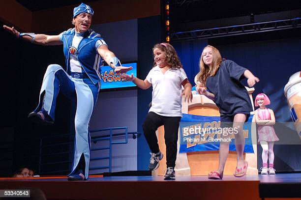 Magnus Scheving left and Julianna Rose Mauriello right from the Nick Jr series LazyTown celebrate the kickoff of the LazyTown Live Tour at the...