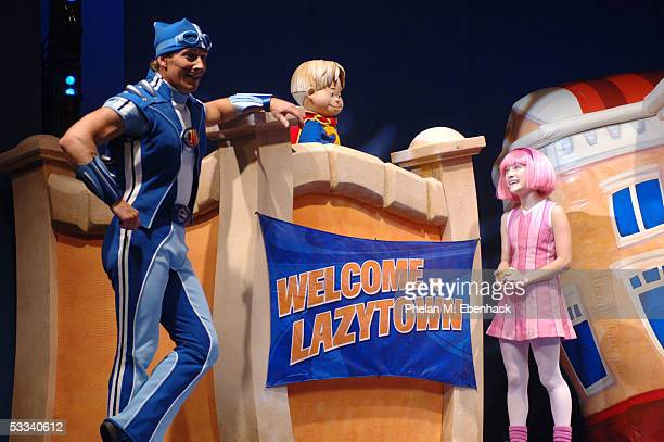 Magnus Scheving left Ziggy center and Julianna Rose Mauriello from the Nick Jr series LazyTown celebrate the kickoff of the LazyTown Live Tour at the...