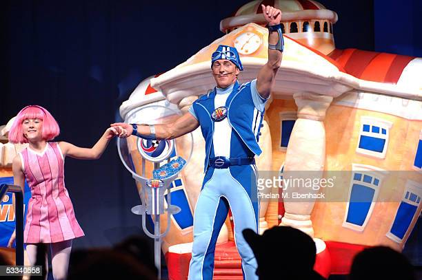 Magnus Scheving right and Julianna Rose Mauriello from the Nick Jr series LazyTown celebrate the kickoff of the LazyTown Live Tour at the Nickelodeon...