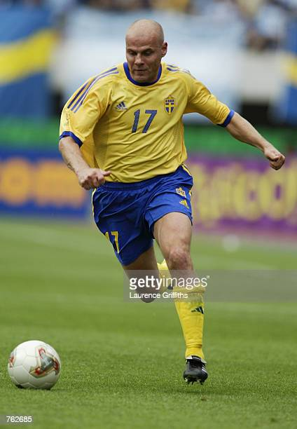 Magnus Svensson of Sweden runs with the ball during the FIFA World Cup Finals 2002 Group F match between Argentina and Sweden played at the Miyagi...