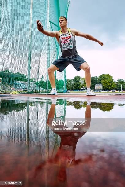 Magnus Zimmermann of Germany competes in the Men's Discus Throw Final during European Athletics U20 Championships Day 4 at Kadriorg Stadium on July...