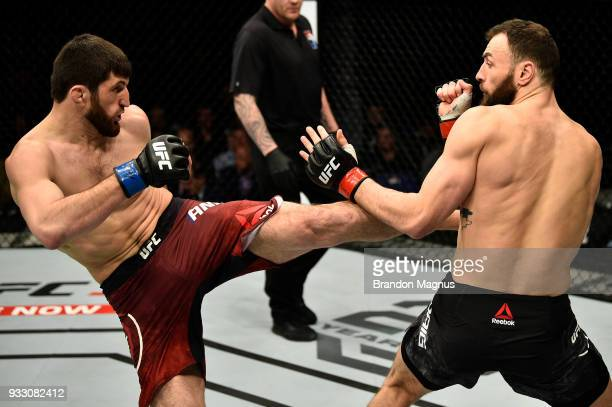 Magomed Ankalaev kicks Paul Craig of Scotland in their light heavyweight bout inside The O2 Arena on March 17 2018 in London England