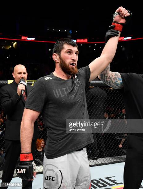 Magomed Ankalaev of Russia celebrates after knocking out Dalcha Lungiambula in their light heavyweight bout during the UFC Fight Night event at CSKA...