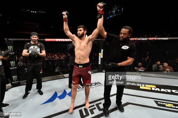 Magomed Ankalaev of Russia celebrates his victory over Marcin Prachnio of Poland after their light heavyweight bout during the UFC Fight Night event...