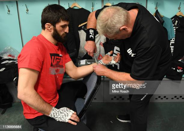 Magomed Ankalaev of Russia has his hands wrapped prior to his bout against Klidson de Abreu of Brazil during the UFC Fight Night event at O2 arena on...