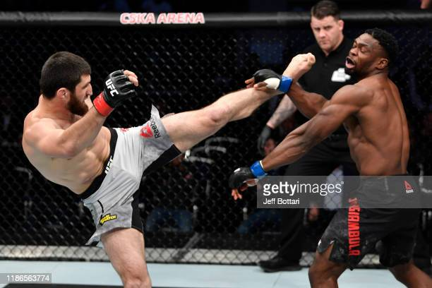 Magomed Ankalaev of Russia kicks Dalcha Lungiambula of South Africa in their light heavyweight bout during the UFC Fight Night event at CSKA Arena on...