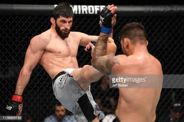 Magomed Ankalaev of Russia kicks Klidson de Abreu of Brazil in their light heavyweight bout during the UFC Fight Night event at O2 Arena on February...