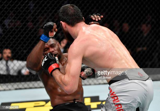 Magomed Ankalaev of Russia knocks out Dalcha Lungiambula of South Africa in their light heavyweight bout during the UFC Fight Night event at CSKA...