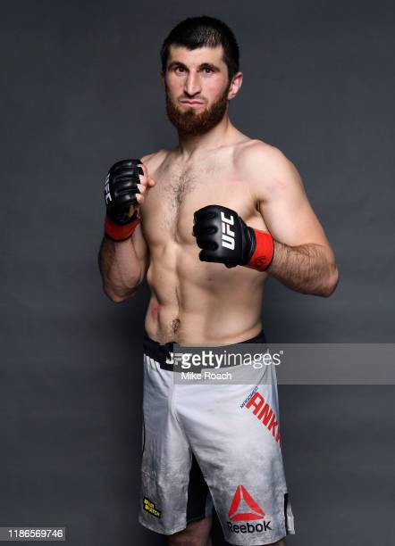 Magomed Ankalaev of Russia poses for a portrait backstage after his victory during the UFC Fight Night event at CSKA Arena on November 09 2019 in...