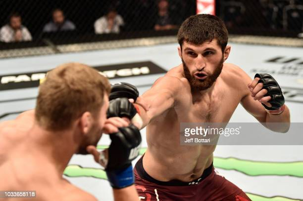 Magomed Ankalaev of Russia punches Marcin Prachnio of Poland in their light heavyweight bout during the UFC Fight Night event at Olimpiysky Arena on...