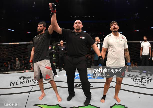 Magomed Ankalaev of Russia reacts after his decision victory over Klidson de Abreu in their light heavyweight bout during the UFC Fight Night event...