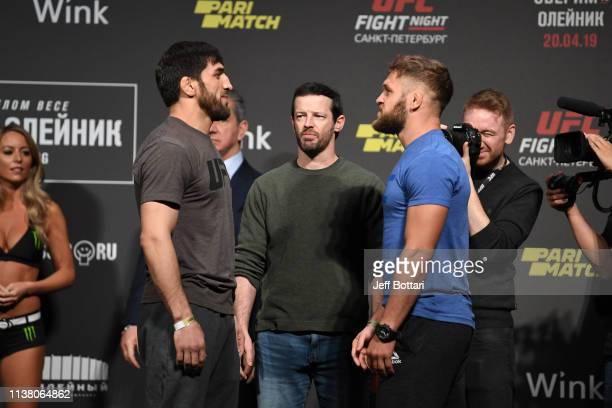 Magomed Mustafaev of Russia and Rafael Fiziev of Kyrgyzstan face off during the UFC Fight Night weighin at Yubileyny Sports Palace on April 19 2019...