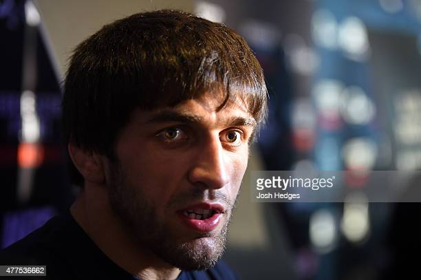 Magomed Mustafaev of Russia interacts with media during the UFC Berlin Ultimate Media Day at the O2 World on June 18 2015 in Berlin Germany