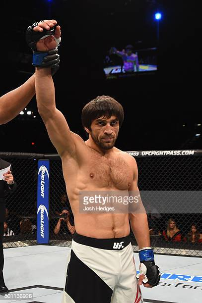 Magomed Mustafaev of Russia is declared the winner over Joe Proctor in their lightweight bout during the UFC 194 event inside MGM Grand Garden Arena...