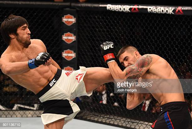 Magomed Mustafaev of Russia kicks Joe Proctor in their lightweight bout during the UFC 194 event inside MGM Grand Garden Arena on December 12 2015 in...