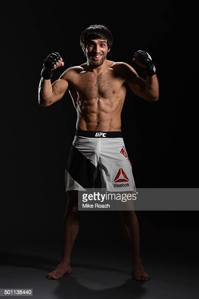 Magomed Mustafaev of Russia poses for a portrait backstage during the UFC 194 event inside MGM Grand Garden Arena on December 12 2015 in Las Vegas...