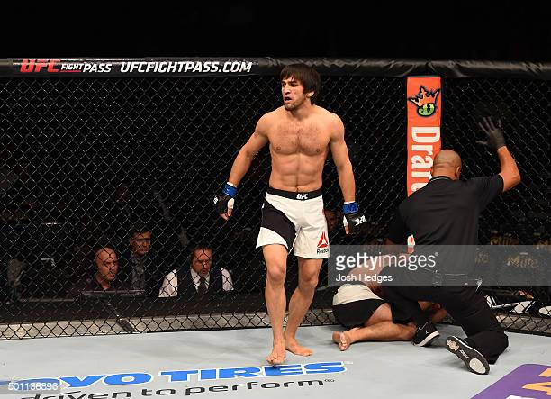 Magomed Mustafaev of Russia reacts to his victory over Joe Proctor in their lightweight bout during the UFC 194 event inside MGM Grand Garden Arena...