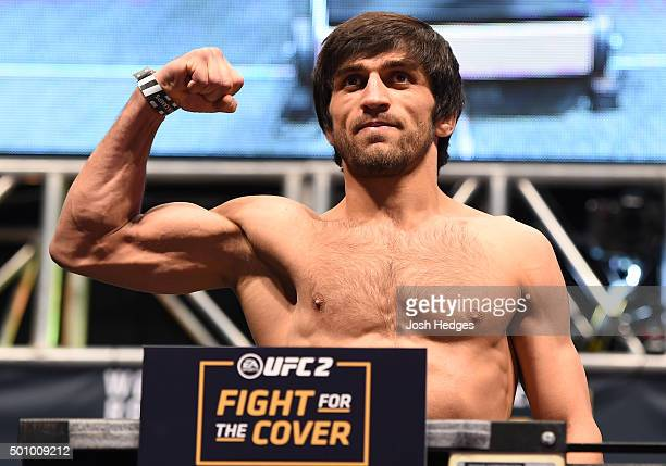 Magomed Mustafaev of Russia weighs in during the UFC 194 weighin inside MGM Grand Garden Arena on December 10 2015 in Las Vegas Nevada
