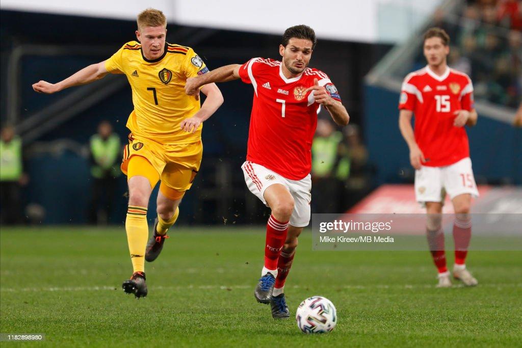 Russia v Belgium - UEFA Euro 2020 Qualifier : Nachrichtenfoto