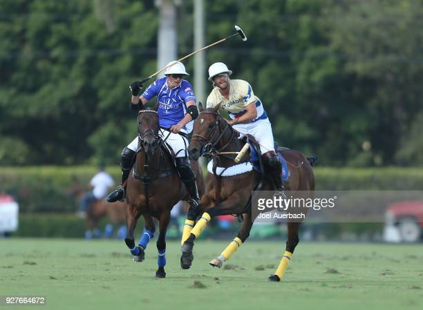 Magoo Laprida of Colorado rides up field against Tommy Beresford of Valiente during the CV Whitney Cup Final on March 4 2018 at the International...