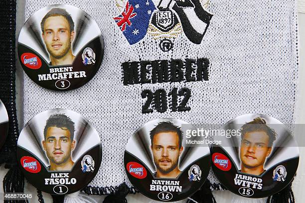 Magpie badges are seen during the round one AFL NAB Cup match between the Geelong Cats and the Collingwood Magpies at Simonds Stadium on February 12...