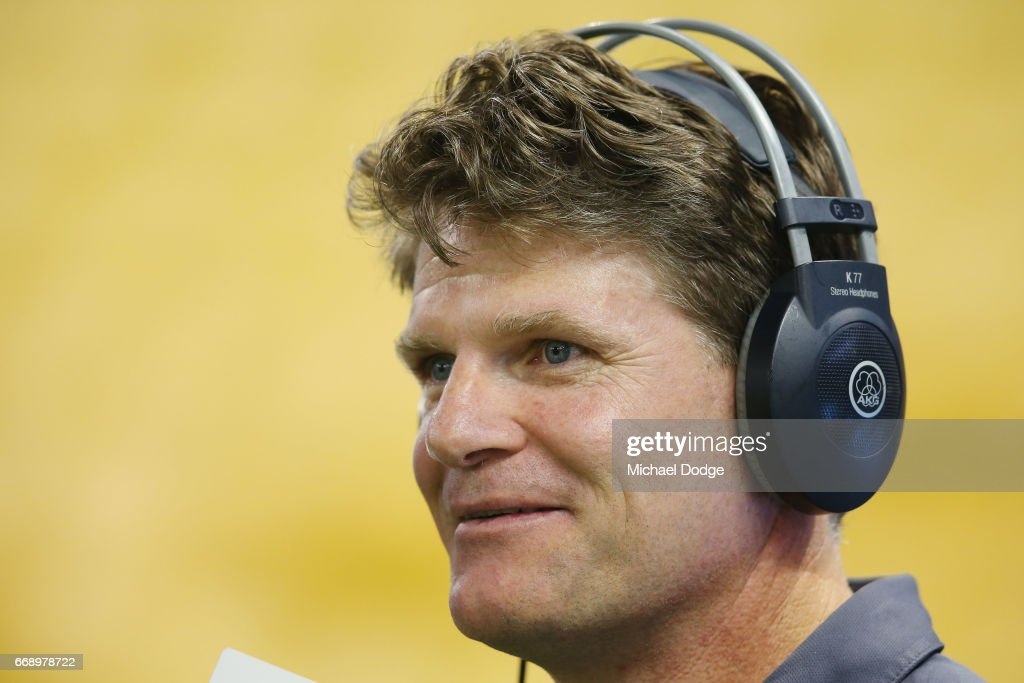 Magpies assistant coach Robert Harvey speaks to media during the round four AFL match between the Collingwood Magpies and the St Kilda Saints at Etihad Stadium on April 16, 2017 in Melbourne, Australia.