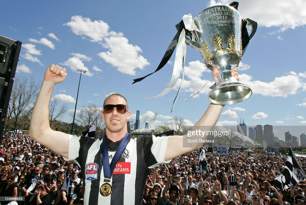 Magpies captain Nick Maxwell holds the Premiership Cup aloft during the Collingwood Magpies AFL Grand Final reception at Gosch's Park on October 3, 2010 in Melbourne, Australia. The Collingwood Magpies defeated the St Kilda Saints to win the 2010 AFL Grand Final yesterday at the Melbourne Cricket Ground.