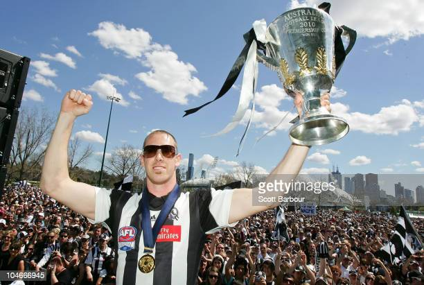 Magpies captain Nick Maxwell holds the Premiership Cup aloft during the Collingwood Magpies AFL Grand Final reception at Gosch's Park on October 3...