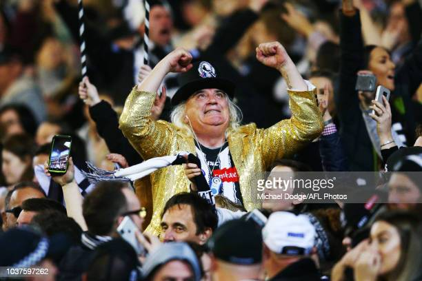Magpies cheersquad legend Joffa Corfe celebrates a goal during the AFL Preliminary Final match between the Richmond Tigers and the Collingwood...
