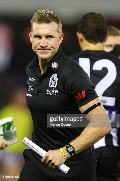 Magpies coach Nathan Buckley looks ahead during the round one AFL match between the Collingwood Magpies and the Fremantle Dockers at Etihad Stadium...
