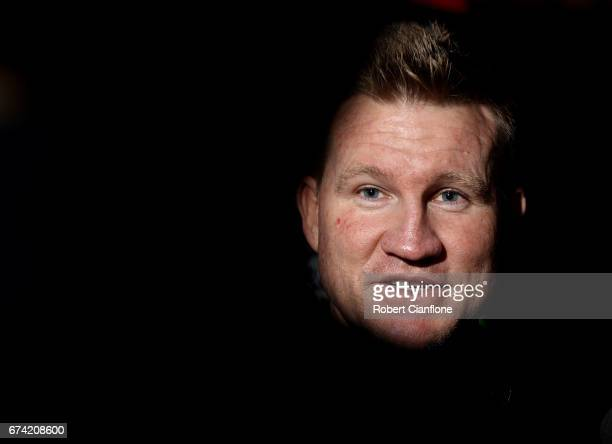 Magpies coach Nathan Buckley speaks to the media during a Collingwood Magpies AFL media opportunity on April 28 2017 in Melbourne Australia