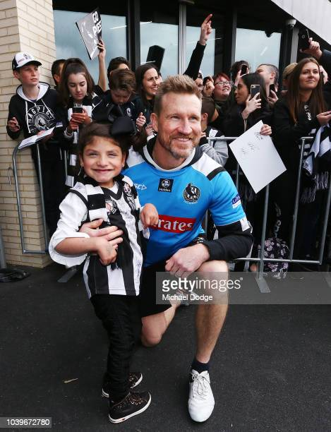 Magpies fans show their support during a Collingwood Magpies AFL training session at the Holden Centre on September 25 2018 in Melbourne Australia