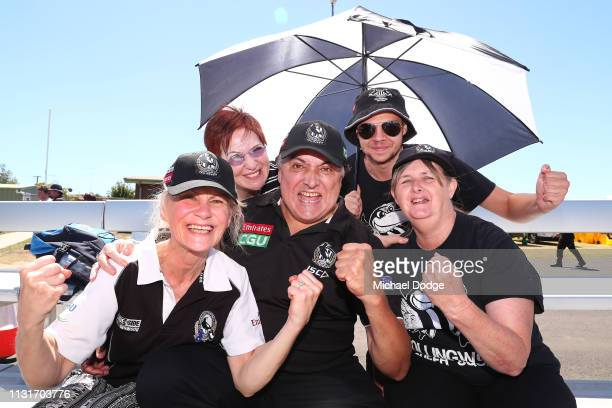 Magpies fans show their support during the AFLW Rd 4 match between Collingwood and GWS at Morwekk Recreation Reserve on February 24 2019 in Melbourne...